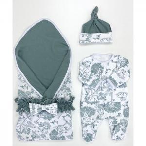 Комплект на выписку  летний (комбинезон, шапочка, плед, пояс-бант) Оленята СуперМаМкет