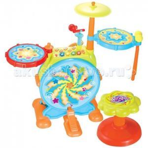 Музыкальный инструмент  центр с барабанной установкой Huile Toys