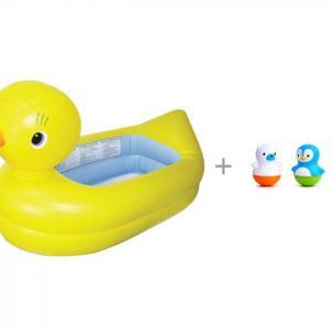 Ванночка надувная Утка и игрушки для ванны Поплавки Медведь Пингвин Munchkin