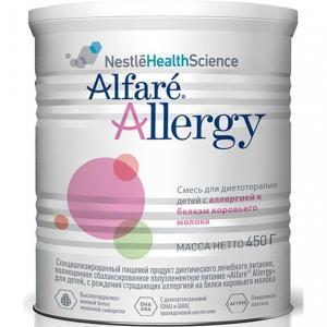 Заменитель молока  Alfare Allergy для диетотерапии детей с аллергией 0-12 месяцев, 450 г Nestle