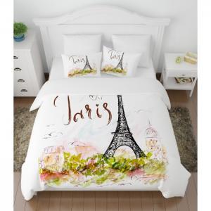 Постельное белье  2-х спальное полисатин Открытка из Парижа (4 предмета) Сирень