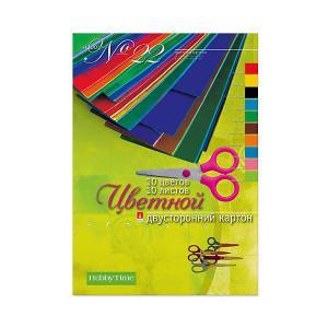 Набор цветного картона № 22  А4, 10 листов (двухсторонний) Альт