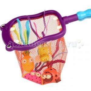 Набор игрушек для ванной Бегемот 4 игрушки и сачок Battat