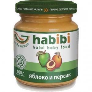 Пюре  Халяль яблоко с персиком 5 месяцев, 100 г Habibi