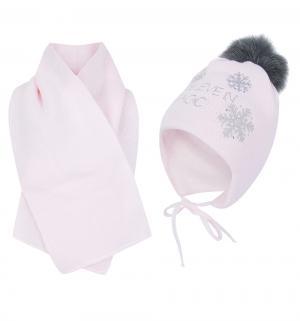 Комплект шапка/шарф  Sniezynka розовый Ewa