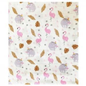 Пеленка  муслиновая двойная Фламинго 115х115 Little me
