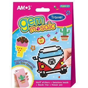 Набор для детского творчества  Мозаика Алмазная со стразами - Веселое путешествие Amos. Цвет: розовый