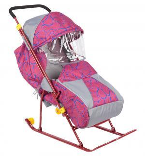 Санки-коляска  Снежинка премиум, цвет: красный Galaxy
