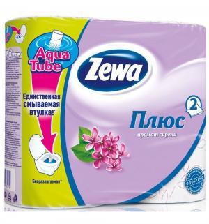 Туалетная бумага 2-х слойная сирень  Plus, 4 шт Zewa
