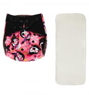Подгузник  Premium Fashion + 1 вкладыш Розовый/Пингвины (3-16 кг) шт. Bamboola