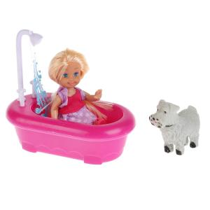 , Кукла Машенька с аксессуарами (ванна душем, питомец), 12см. Карапуз