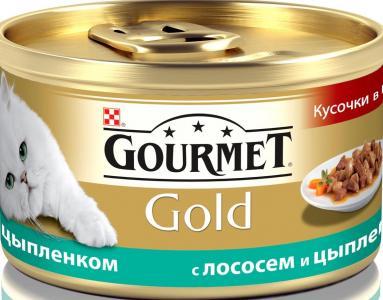 Корм влажный  Gold для взрослых кошек, лосось/цыпленок, 85г Gourmet