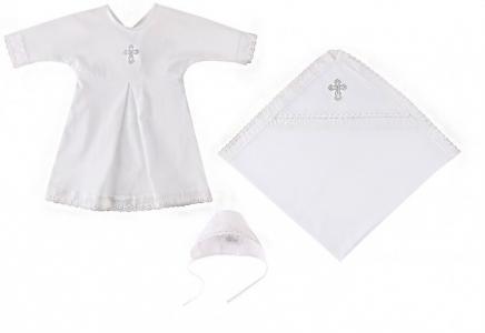 Крестильный набор (пеленка, рубашка, чепчик) для мальчика Наша Мама