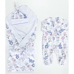 Комплект на выписку  летний (плед, пояс-бант, комбинезон, шапочка) Зайчишка СуперМаМкет
