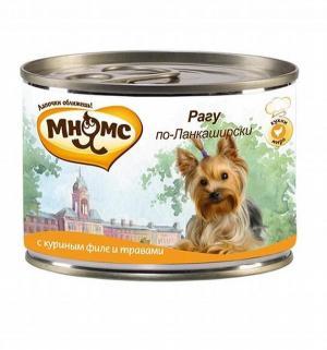 Влажный корм  для взрослых собак, рагу по-ланкаширски (куриное филе/травы), 200г Мнямс