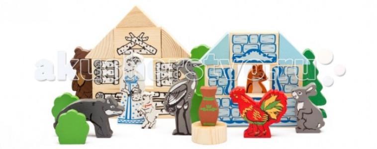 Деревянная игрушка  Конструктор Сказки Лесные 35 деталей Томик