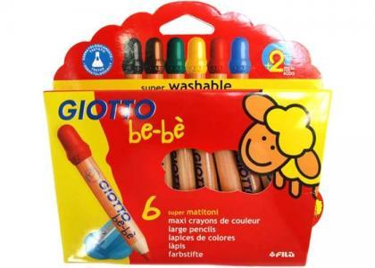 BeBe Super Largepencils Деревянные карандаши с точилкой 6 цветов Giotto
