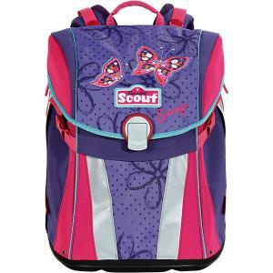 Ранец  Sunny Бабочки с наполнением Scout. Цвет: лиловый