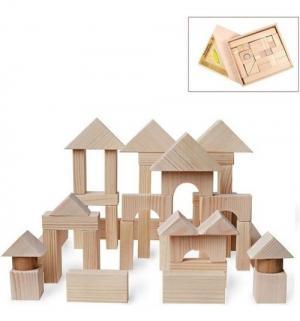 Деревянный конструктор  неокрашенный 51 деталь Paremo