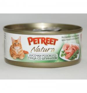 Влажный корм  для взрослых кошек, кусочки розового тунца/шпинат, 70г Petreet