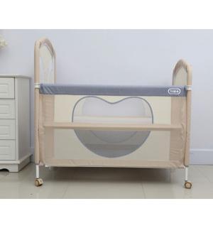 Кроватка-манеж  Be Happy, цвет: бежевый/серый Tizo