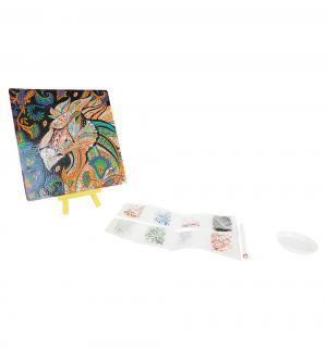 Алмазная живопись  Арт-терапия. Алмазные узоры. Огненный Лев 20х20 см Origami
