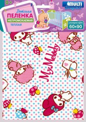Пеленка  Ультрасофт непромокаемая 60 х 90, 1 шт Multi-Diapers