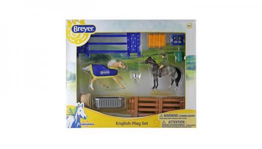 Игровой набор Английский стиль из двух лошадей наездника и аксессуаров Breyer