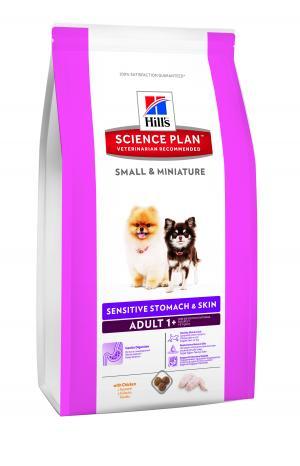 Сухой корм Hills Science Plan Sensitive Stomach and Skin для взрослых собак мини-пород, курица, 1.5кг Hill's