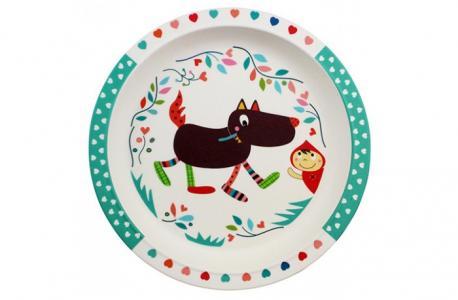 Бамбуковая тарелочка Волчонок Ebulobo